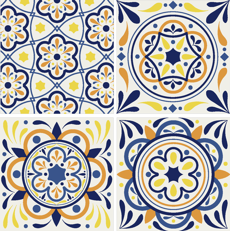 TenStickers. Colourful Portuguese tile print coaster. This colourful Portuguese tile coaster in colours like yellow, blue and orange will look great in your home. Put them in your basket now.