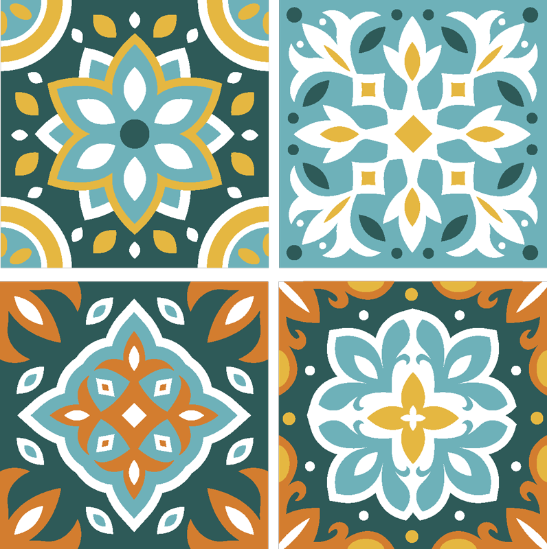 TenStickers. Colourful Tile Design Ornament Coaster. These colourful tile coasters are a wonderful opportunity to show your personal style. The coasters can be used on any table you like.