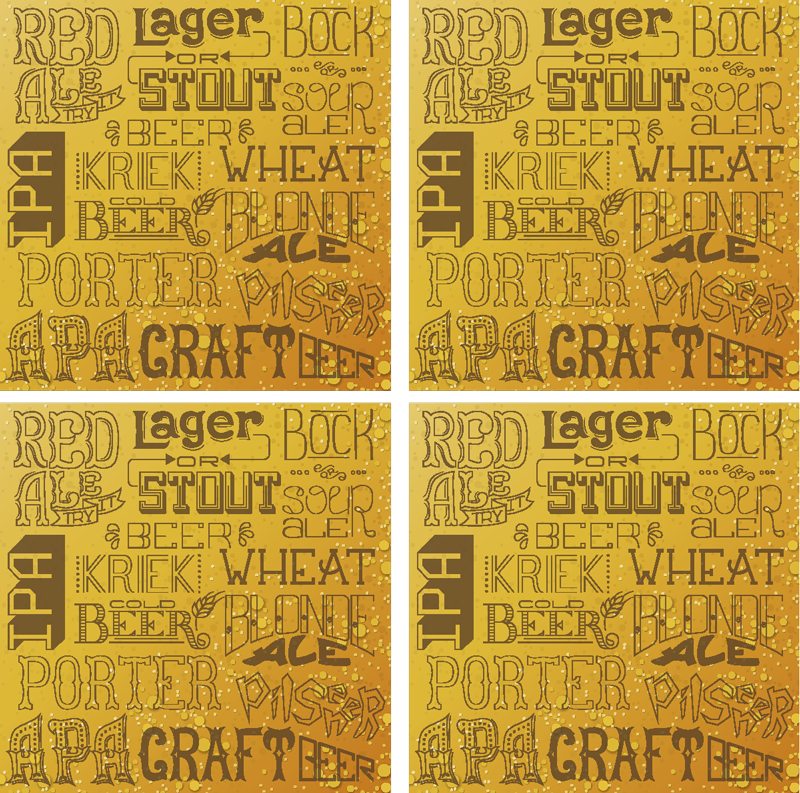 TenStickers. Different beer types  coaster for bars. This beer coaster is the perfect choice for any fan of beer. Neutral design with exciting fonts and every beer brand you know!
