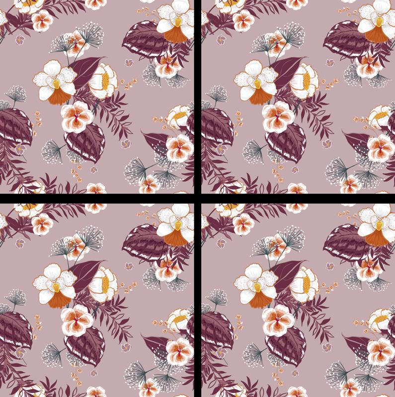 Tenstickers. Färgglada dalbana med blommor. Vilket vackert tillägg till ditt hem! Denna blommiga tryckkust är exakt vad du behöver för din matsal eller restaurang. Välj en uppsättning!