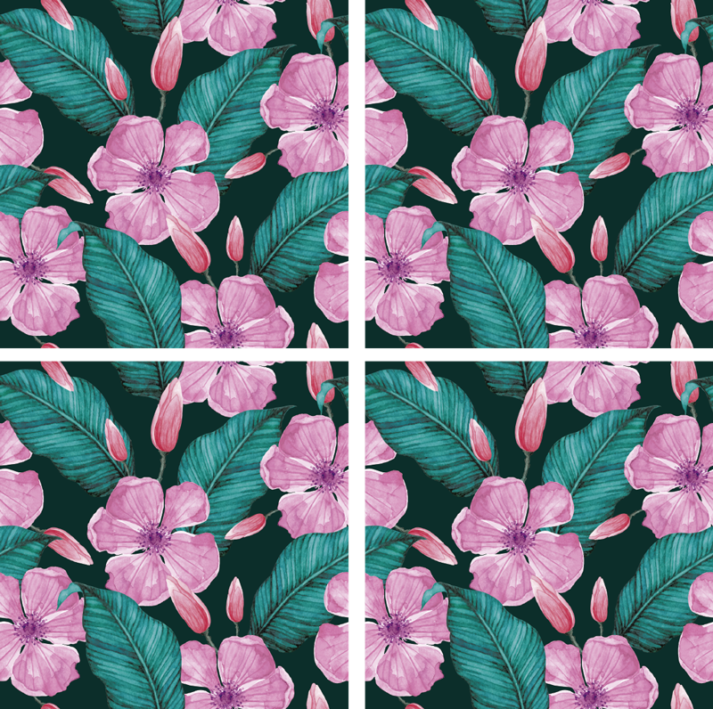 TenStickers. Flowers with leaves nature theme coaster. This floral coaster with beautiful pink flowers and green leaves will look stunning in your home. Purchase it now and enjoy it in your home!