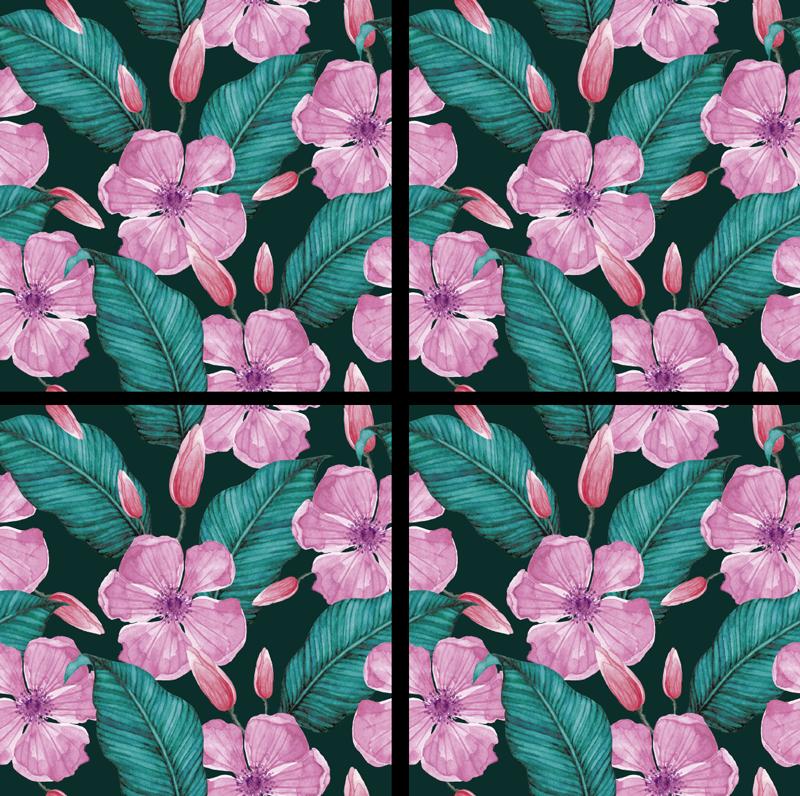 TenStickers. 花与叶自然主题杯垫. 这款带有美丽的粉红色花朵和绿色叶子的花卉杯垫在您的房屋中看起来会很漂亮。立即购买并在您的家中享受它!