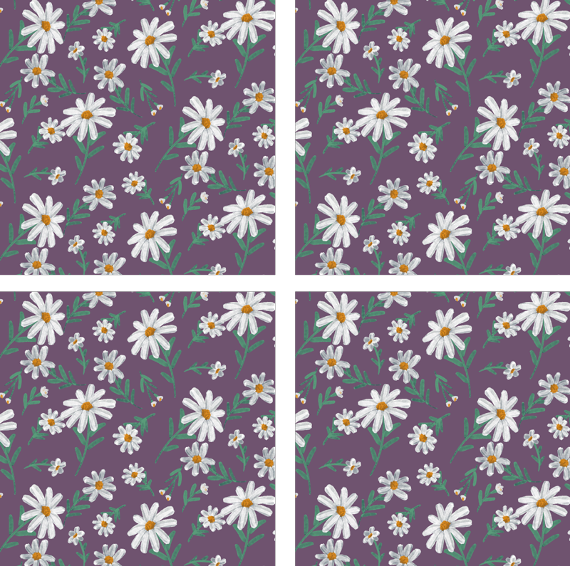 TenStickers. Daisy floral coaster with purple background. Look at this hand painted daisy flower coaster with a purple background. This would look gorgeous in your home. Purchase it now in sets of 4, 6, or 8!