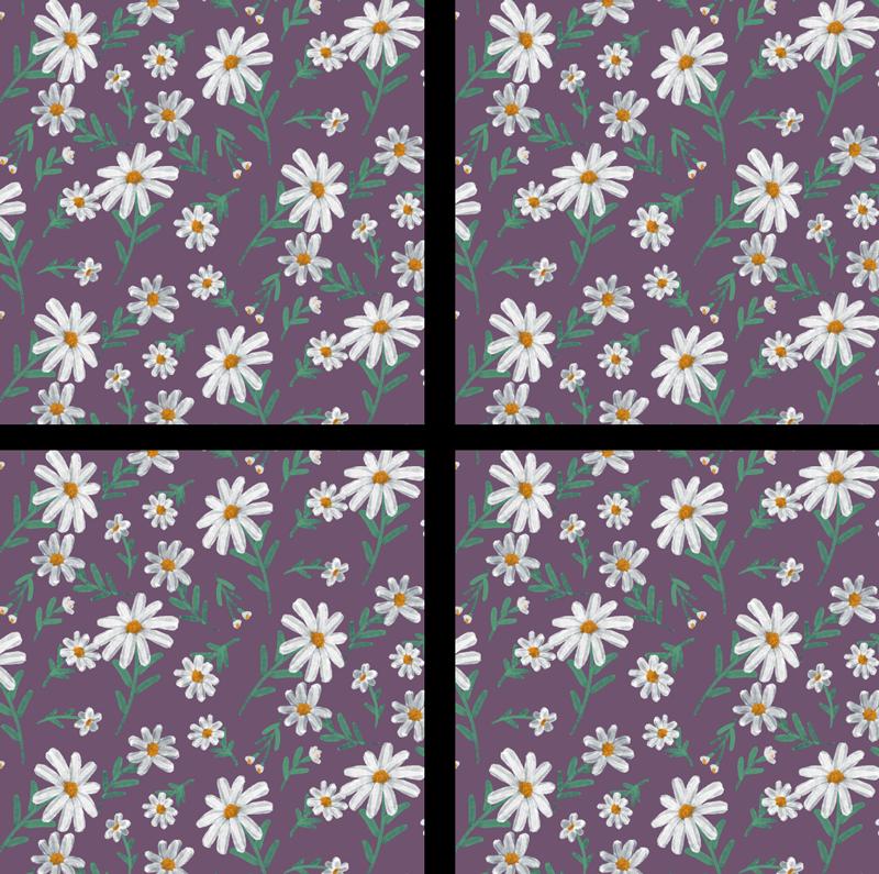 TenStickers. 雏菊花过山车与紫色背景. 看看这款手绘雏菊花过山车具有紫色背景。这在您的家里看起来会很漂亮。现在以4、6或8套的价格购买!