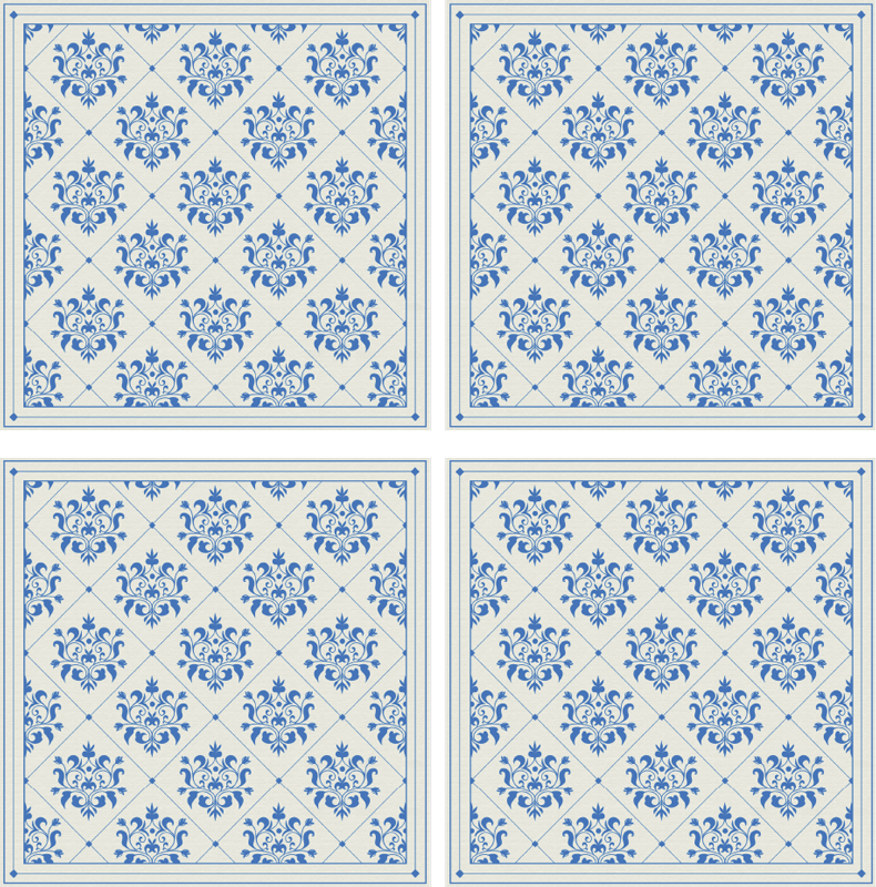 TenStickers. Blue floral tile  coaster. A tile coaster to show off your elegant decoration style. Beautiful flower design in blue colour with off-white background. Put it in your basket!