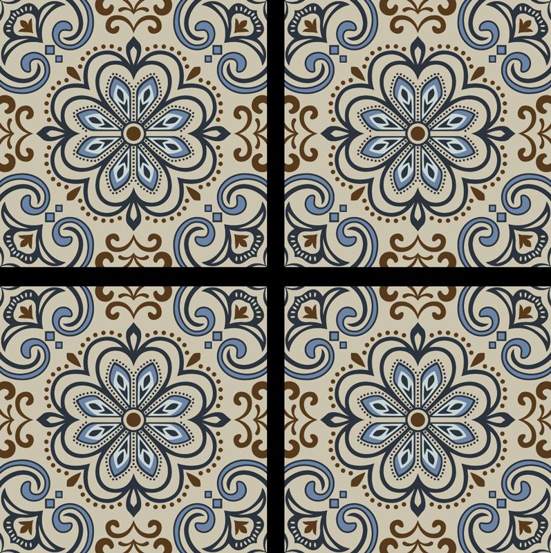 TenVinilo. Posavasos estampado de azulejos florales. Este posavasos con estampado de azulejos florales es la solución perfecta para las manchas de vidrio en sus mesas. Disponible en packs de 4, 6 y 8