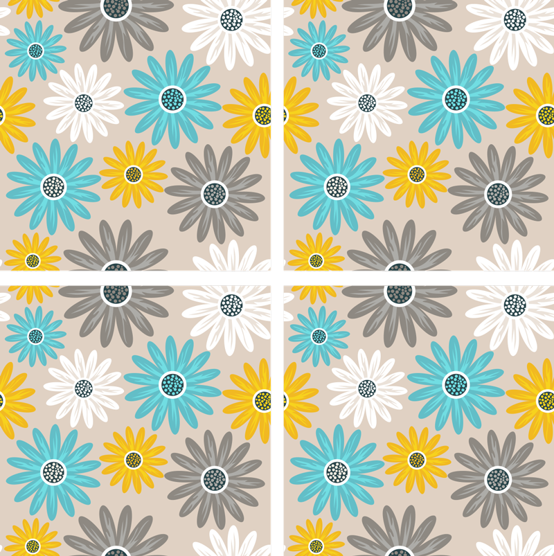TenStickers. Colourful Daisies Floral Coaster. This colourful floral coaster will look great on any table! The different coloured flowers make an exciting decoration you can show off.