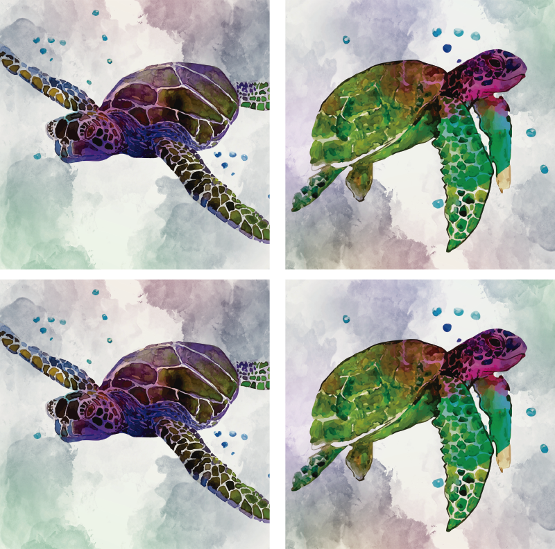 TenStickers. Colourful Abstract Turtles Animal Coasters. This colourful animal coaster is perfect for people who love turtles. Abstract colourful design to draw everyone's attention!