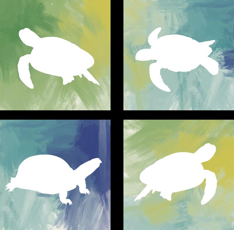 TenStickers. Pack de dessous de verre tuile tortue coloré. Voulez-vous pimenter votre style de décoration? Ces sous-verres animaux silhouette sont parfaits pour vous! Fond coloré avec une tortue blanche.