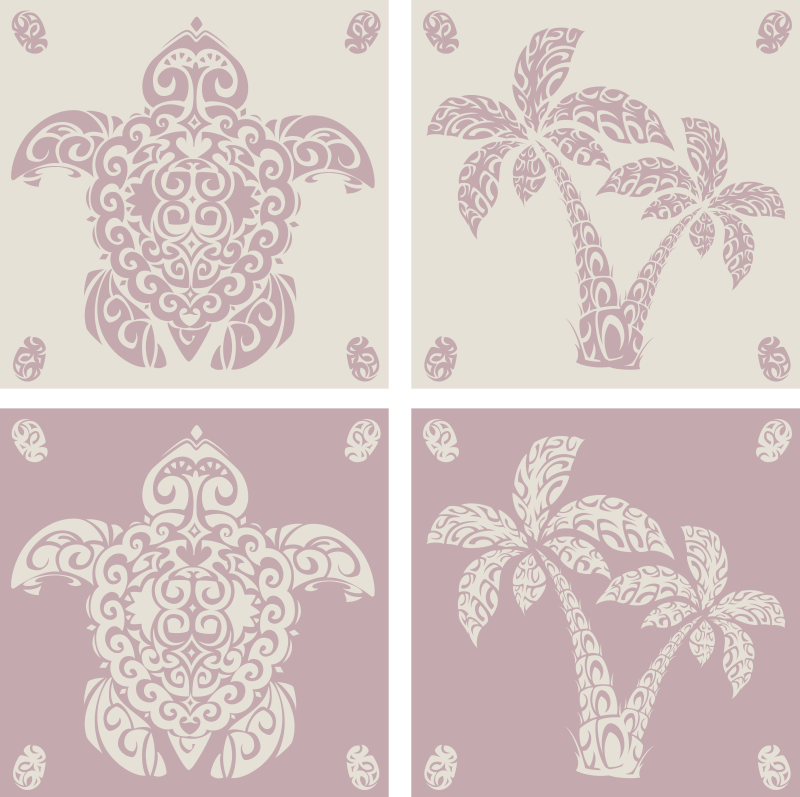 TenStickers. Hawaiian Turtle and Palm Tree Coaster Set. This colourful animal coaster is perfect for anyone who likes turtles and cute designs. Classy and elegant Hawaiian inspired theme.