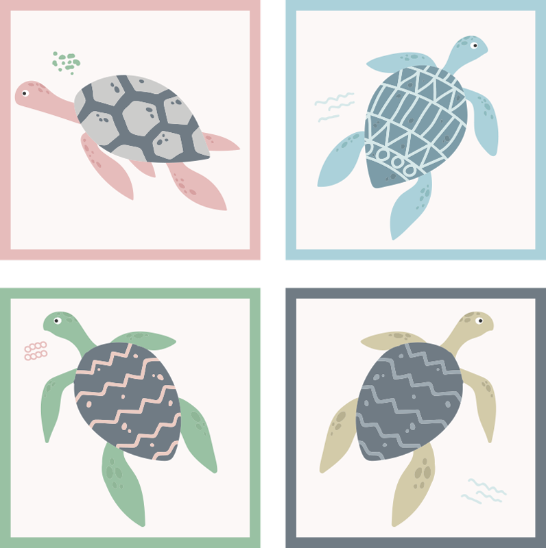 TenStickers. Soft Colours Turtle Drawing Coaster Set. Do your tables always get stains because of glasses? This turtle drawing coaster is the perfect solution! Soft pastel colours fit into every room.