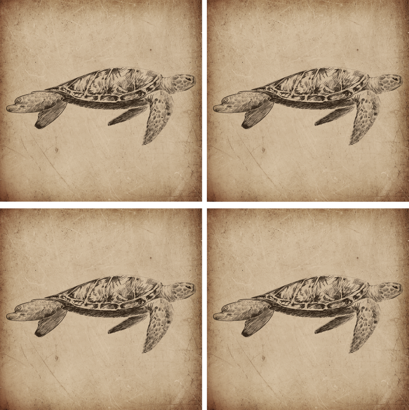 TenStickers. Turtle Illustration Vintage Animal Coaster. This is a animal coaster to impress your guests! A gorgeous illustration of a turtle paired with a vintage flair to be placed on any table!