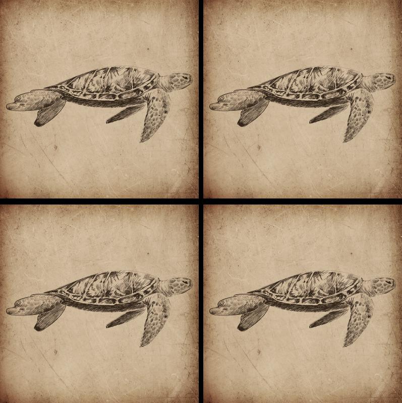 TenStickers. Skildpadde, illustration, dyr, coaster. Dette er en dyrebane for at imponere dine gæster! En fantastisk illustration af en skildpadde parret med en vintage flair, der skal placeres på ethvert bord!