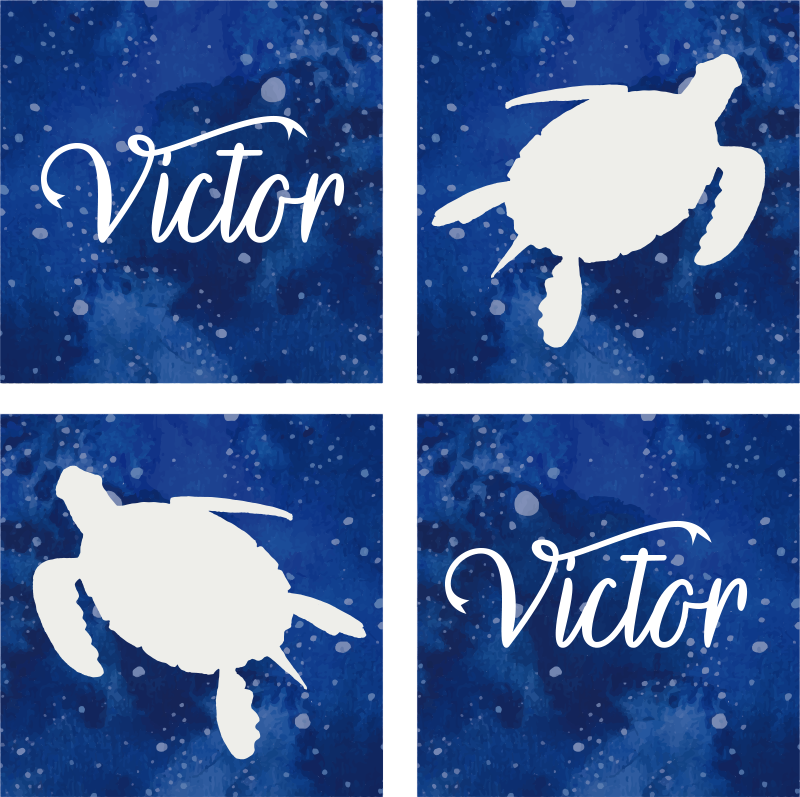 TenStickers. Custom Turtle Galaxy Pattern personalised Coasters. This is a personalized animal coaster to impress your guests! Your name can be added to this drinking coaster to create a custom product!