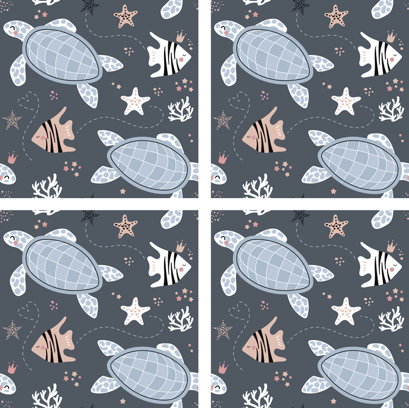 TenStickers. Turtles and Fish Sea Coaster. This beautiful animal coaster is exactly what you need to decorate your tables! The combination of cute turtles and fish is perfect.