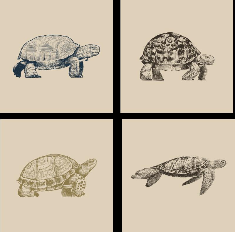 TenVinilo. Posavasos retro Dibujos de tortugas. ¡Mira este genial posavasos de animales con dibujo de tortuga! ¡Diseño elegante con estos fascinantes animales! ¡Envío a domicilio!