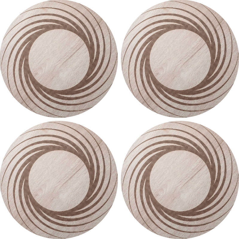 TenStickers. Brown wooden swirl modern drink coaster. Wood coaster set which features a wooden background with a brown swirl pattern. Extremely long-lasting material. Custom made.