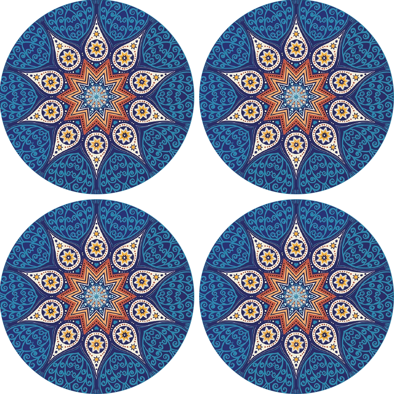 TenStickers. Mandala Mosaic drink coaster. Mandala coaster which  features a mandala pattern which looks like it has been made from smaller mosaic like pieces. Custom made.