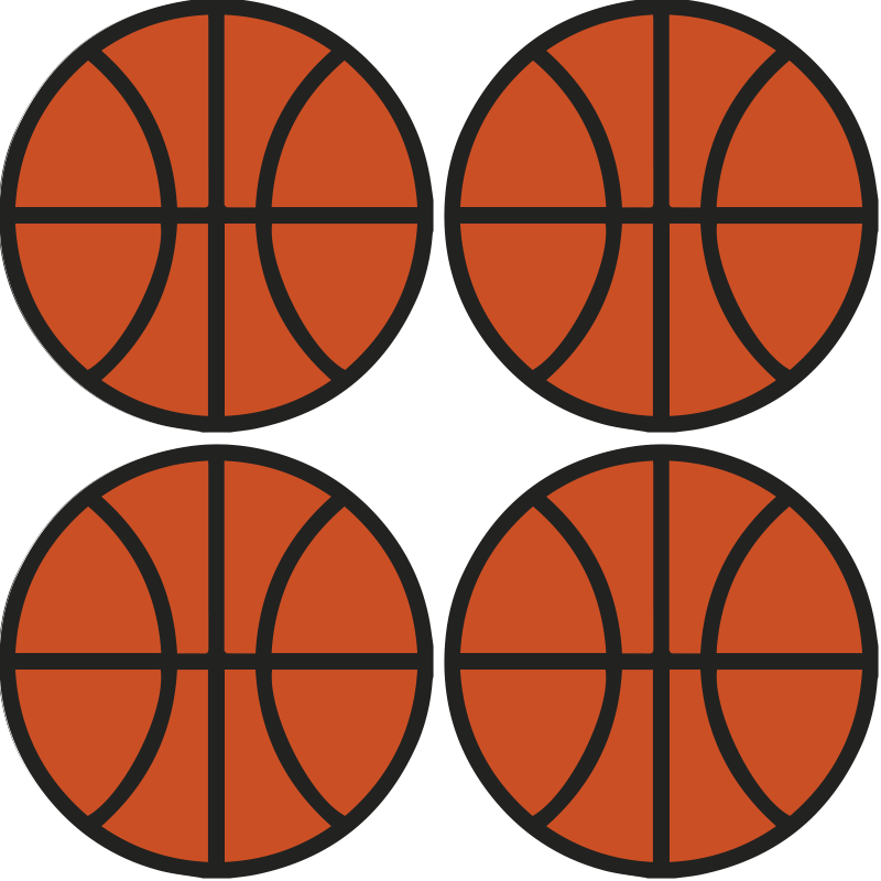 TenStickers. Basketball  modern drink coaster. Basketball coaster set which features a set of coasters all in the shape of basketballs. High quality materials used. Worldwide delivery.