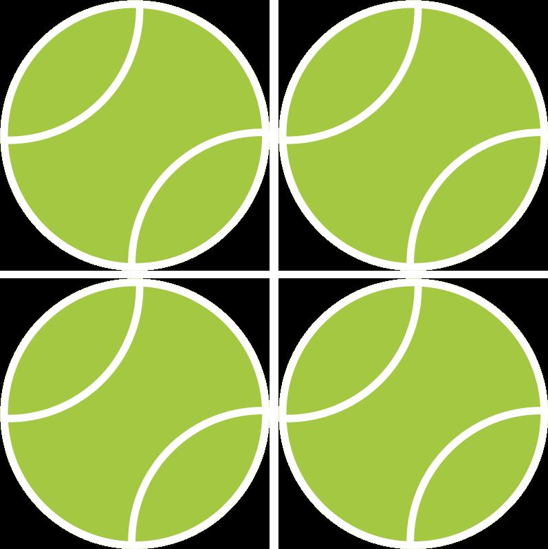 TenStickers. Untersetzer Modern Cartoon tennisball. Tennisball round coaster mit einem cartoon-tennisball in den ikonischen grün- und weißtönen. Rabatte verfügbar. Wasserfest.