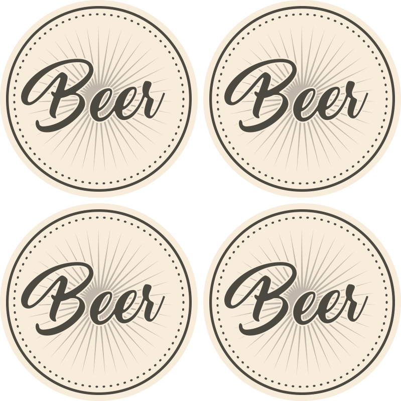 TenStickers. Vintage text beer coasters. The perfect beer themed vintage coaster to protect all your surfaces with! Sign up to our website now for 10% of your first order.