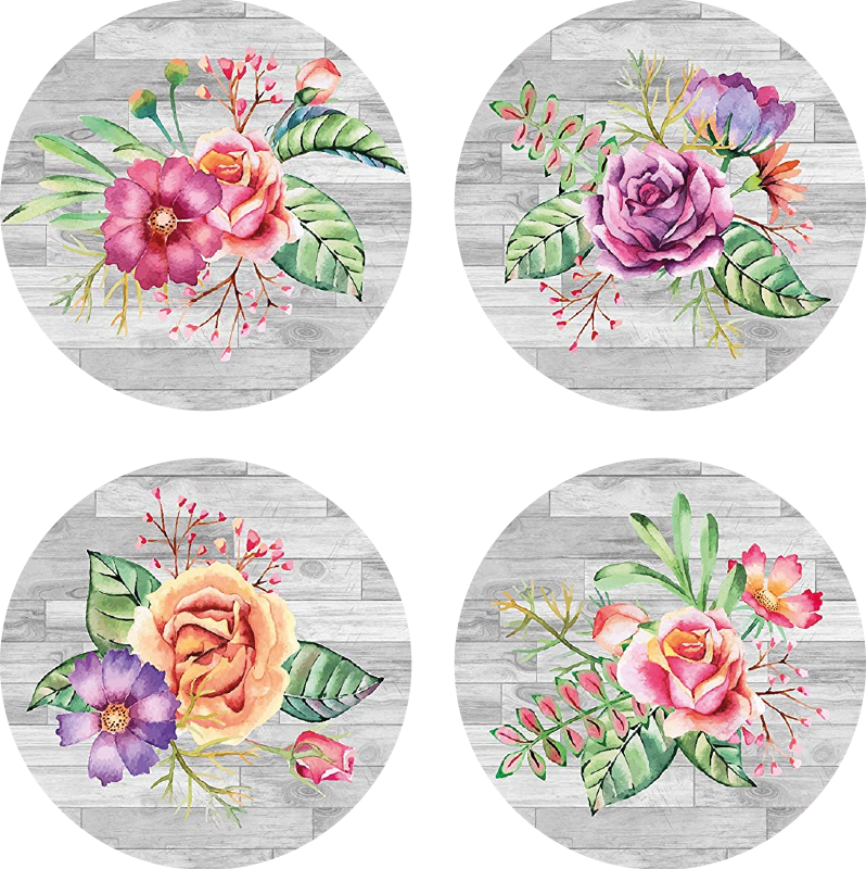 TenStickers. Flower bouquet retro coasters. Amazing floral coasters for drinks to protect your surfaces with! Extremely long-lasting material that will be just perfect fo you.