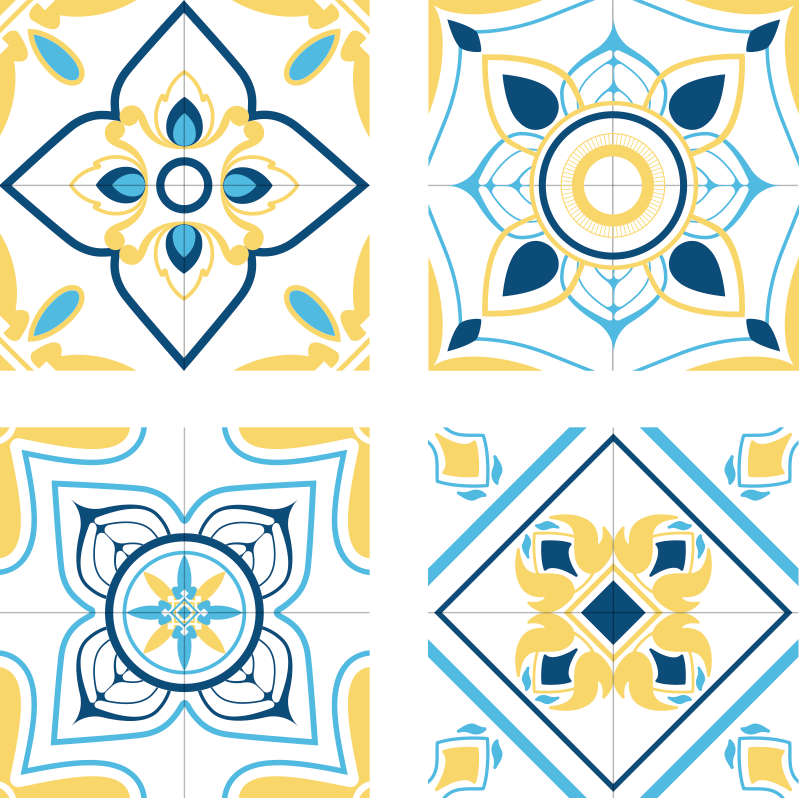 TenStickers. Blue and yellow eclectic tiles tile coaster. an incredible blue and yellow eclectic tile coaster just for you! Get decorating your home with these gorgeous products, you won't regret it.