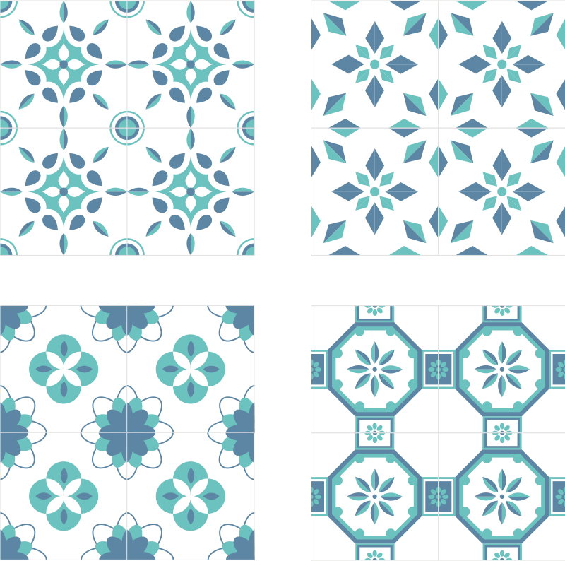 TenStickers. Blue patterned tile coaster. Elegant tile coaster set which  features a pattern of floral blue shapes on a light blue background. Anti-bubble vinyl. High quality.