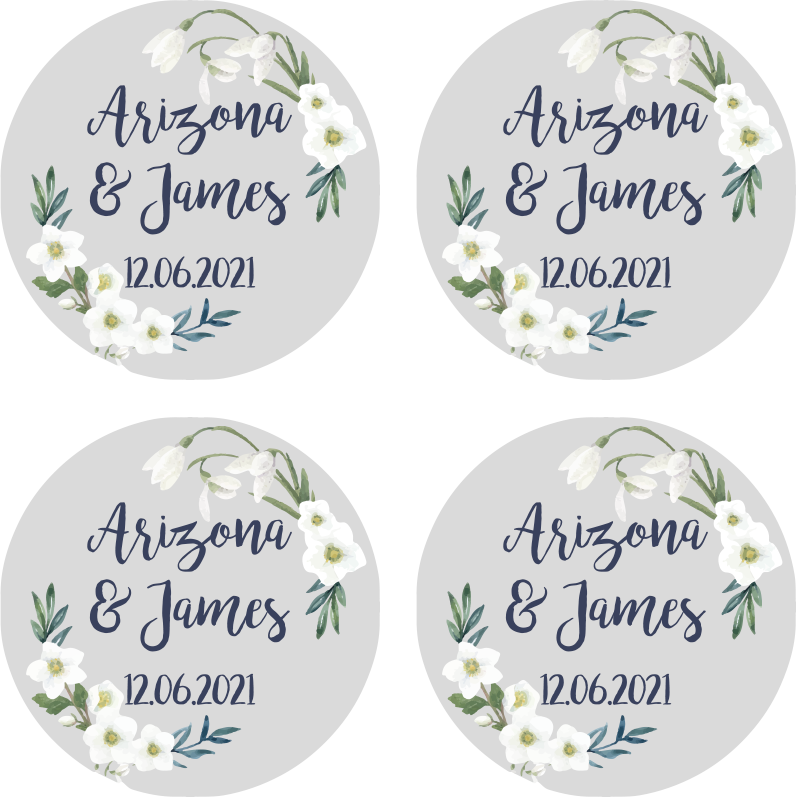 TenStickers. Floral Wedding customisable coaster favors. Floral Wedding customisable wedding coaster to add that little something extra to your special day! Choose the exact quantity you need.