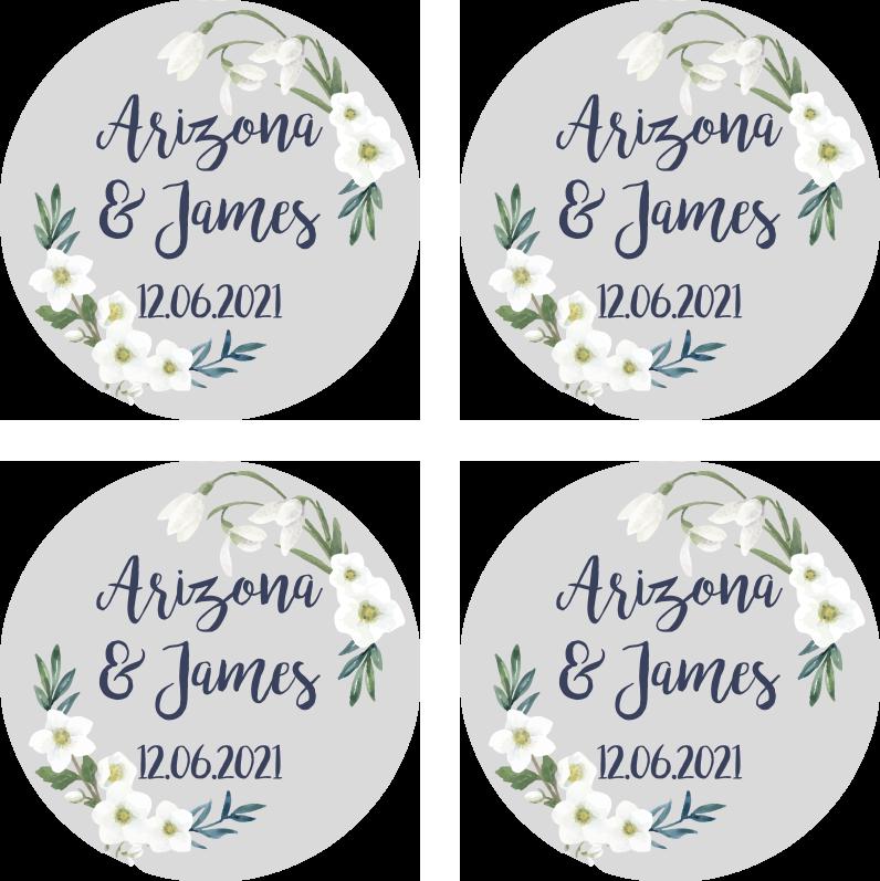 TenStickers. 花艺婚礼可定制的杯垫忙. 花艺婚礼可定制的婚礼杯垫,为您的特殊日子增添了一点额外的乐趣!选择所需的确切数量。