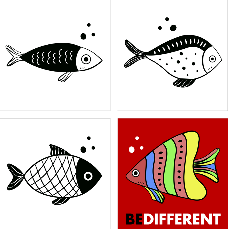 "TenStickers. Counterflow fish coasters. An amazing fish coaster that has a bright-colored fish with a text that says ""be different"". Easy to keep clean. Waterproof."