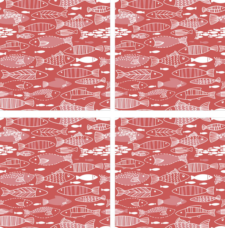 TenStickers. Many fish under sea red fish coaster. This fabulous fish coaster that has a red background and white different kinds of fish on it is perfect for your home. Easy to wash.