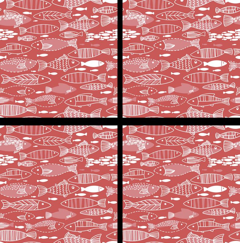 TenStickers. 海红色的鱼过山车下很多鱼. 这款神话般的鱼过山车带有红色背景和白色不同种类的鱼,非常适合您的家。易于清洗。