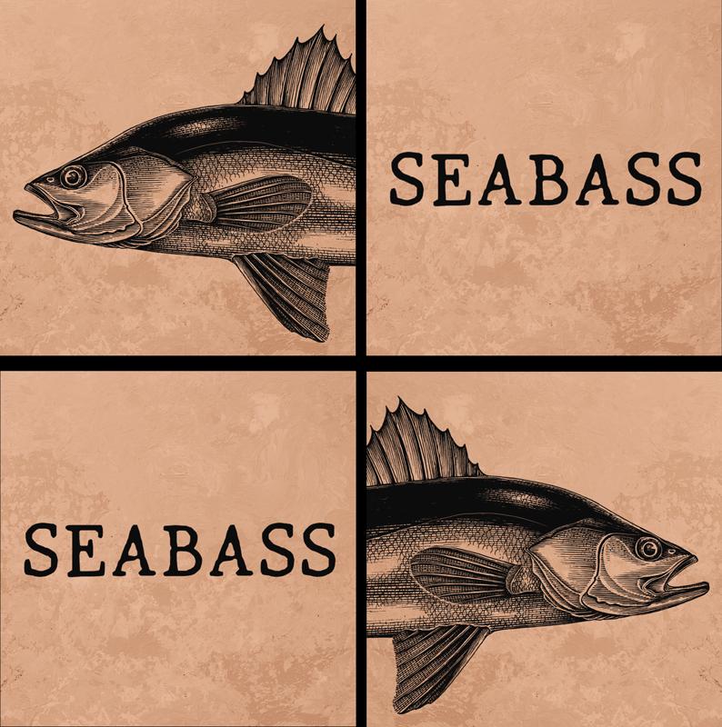 "TenStickers. 현실적인 손으로 그린 바다 농 어 물고기 코스터. 해저 그림과 ""해저""라는 텍스트가있는 놀라운 2 피스 어선 코스터. 깨끗하게 유지합니다. 방수."