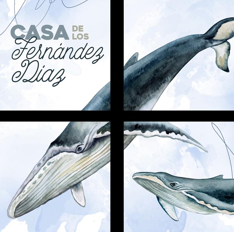 TenVinilo. Posavasos con nombre y apellido de ballenas. Un increíble posavasos de cuatro piezas que tiene una familia de ballenas donde puedes poner el nombre de tu familia ¡Envío a domicilio!