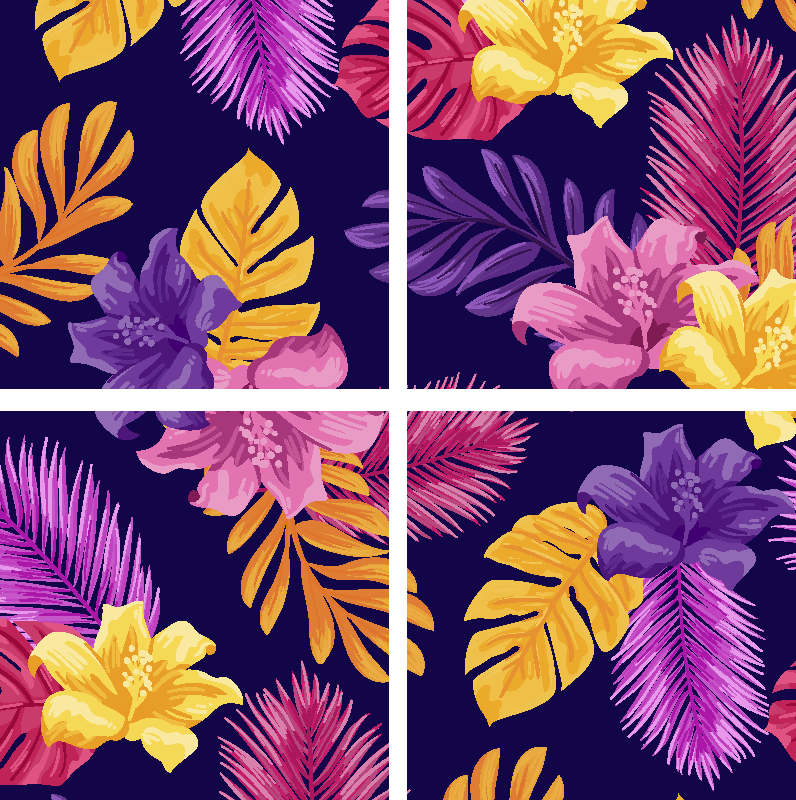 TENSTICKERS. トロピカルでカラフルなパターンのモダンなドリンクコースター. トロピカルでカラフルなパターンのモダンなコースター。紫色の背景にデザインされた多色の休暇があり、テーブルスペースを飲む美しさを追加します。