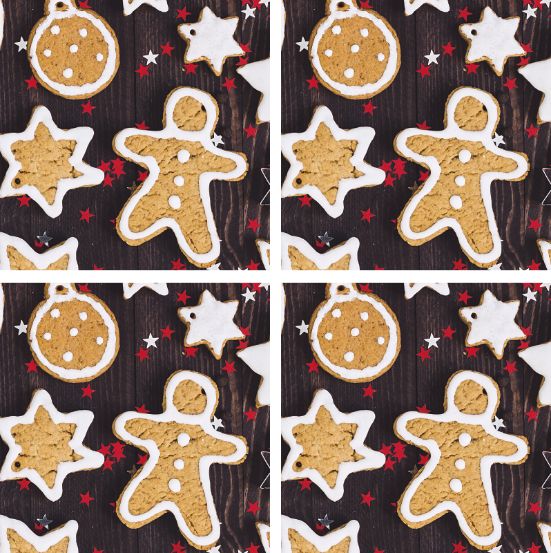 TenStickers. Christmas cookies drink coaster. Beautiful Christmas drink coaster featured with snowman in cookie texture.  An amazing design to enjoy drinks for Christmas.