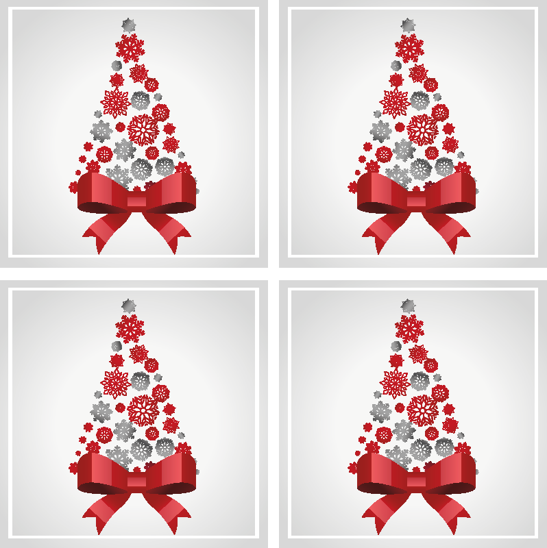 TenStickers. Elegant Christmas tree drink coaster. Beautiful and elegant Christmas drink coaster featured withred ribbon and other ornamental Christmas featured. It is easy to maintain.