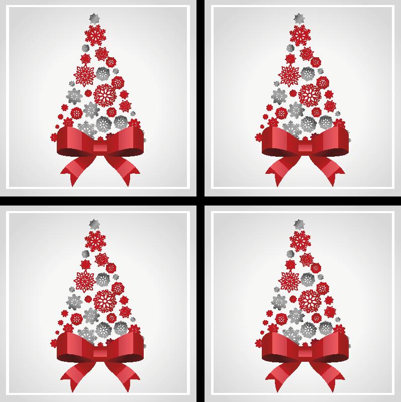 TenStickers. Sottobicchiere  tema Natale Elegante albero di natale. Bellissimo ed elegante sottobicchiere natalizio con nastro rosso e altri ornamenti natalizi. è facile da mantenere.