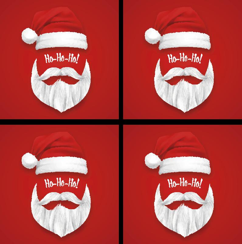 TenStickers. Ho juledriksbane. Smuk juledriksbane med ansigtet på santa claus. Produktet er lavet af god kvalitet og let at vedligeholde.