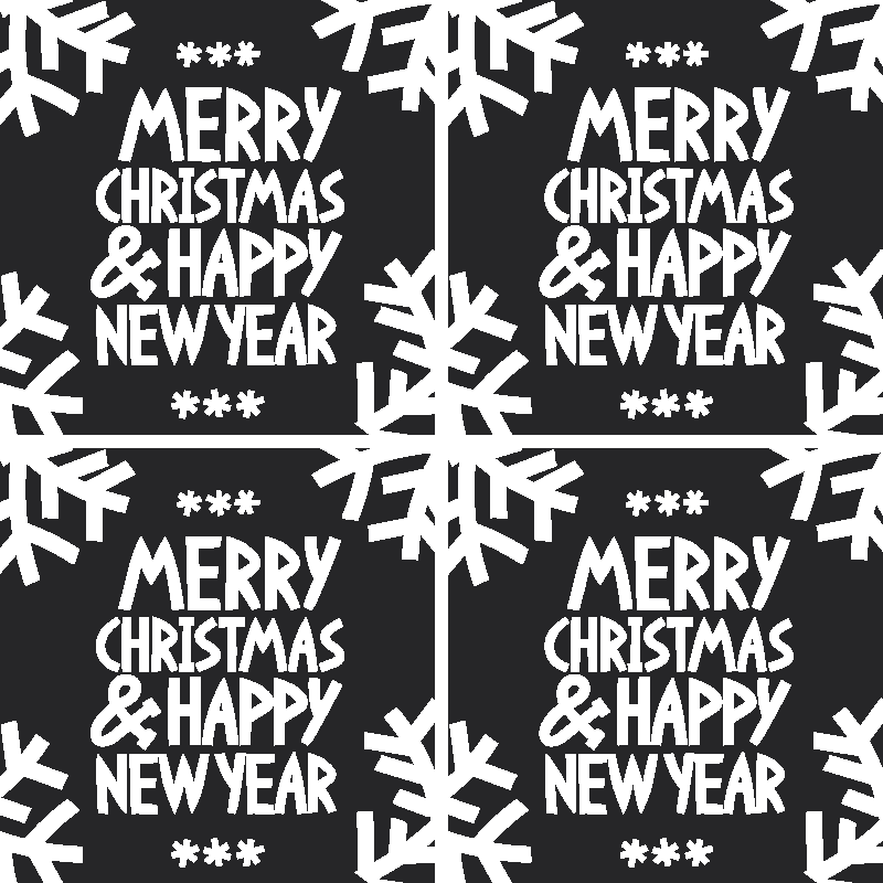 TenStickers. Merry Christmas and happy new year coaster. Merry Christmas  and happy new year text drink coaster designed on a black background. It is easy to maintain and of good quality.