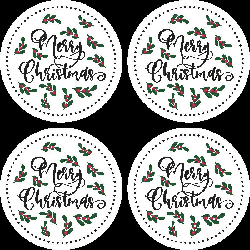 TenStickers. Bierdeckel Weihnachten Frohe weihnachten Baum. Fantastisches Weihnachtsgetränkematten-Design, um Weihnachtsfreude mit ihrer Familie zu genießen. Das Produkt ist aus hochwertigem material gefertigt.