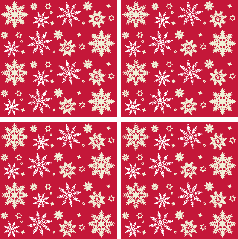 TenStickers. Snowflakes pattern drink coaster. Buy our snow flakes pattern drink coaster with beautiful red Christmas background. The product is original and very easy to maintain.