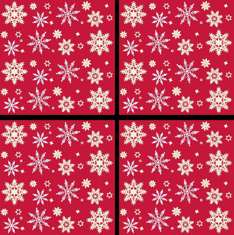 TenStickers. 雪花图案喝杯垫. 买我们的雪花图案喝杯垫与美丽的红色圣诞节背景。该产品是原装的,非常易于维护。