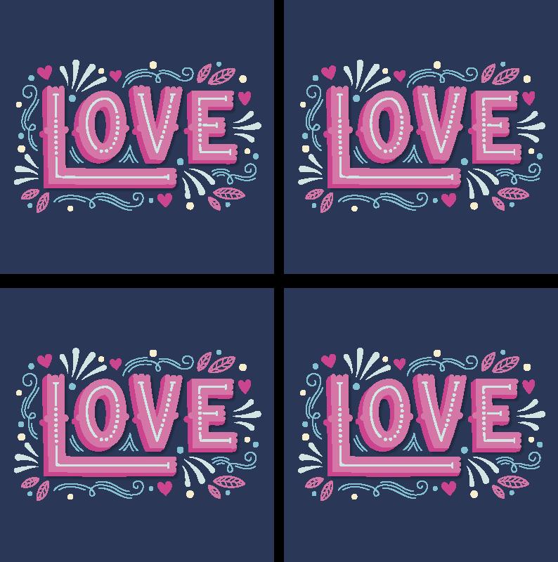 TenStickers. Sottobicchiere  tema vintage Amore in stile retrò. Un sottobicchiere colorato disegnato con testo d'amore. Questo design decorerà la superficie del tuo tavolo con un tocco di arredamento sorprendente.
