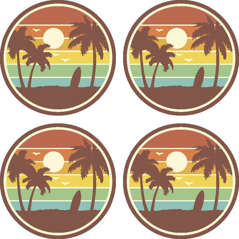TenStickers. Retro surf landscape drink coaster. Retro surf landscape drink coaster for lovers of surfing. This product is made with high quality material and it is easy o clean.