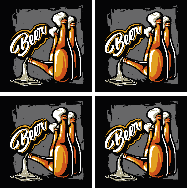 TenStickers. Beer bottle bear coasters. Vintage beer bottle to serve your beers and beverages at home and in restaurants and bar spaces. The product is made with high quality material.