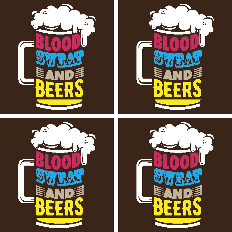 TenStickers. Blood, sweat and beer bear coasters. Pub beer mat that you would love on your table space to serve beer. The design has thephoto of a beer cup with the text '' blood, sweat and beer''.