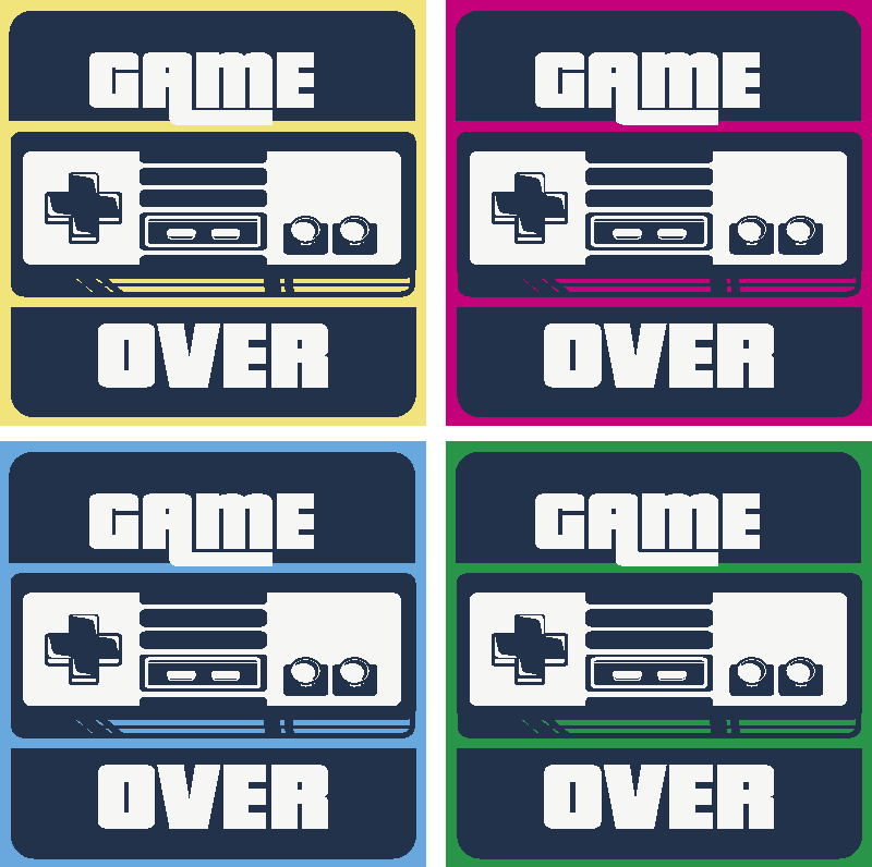 TenStickers. Gamer geeky coasters. A drink coaster for gamer with gaming design and the text '' Game over''. It is easy to maintain and available in different pack sets.