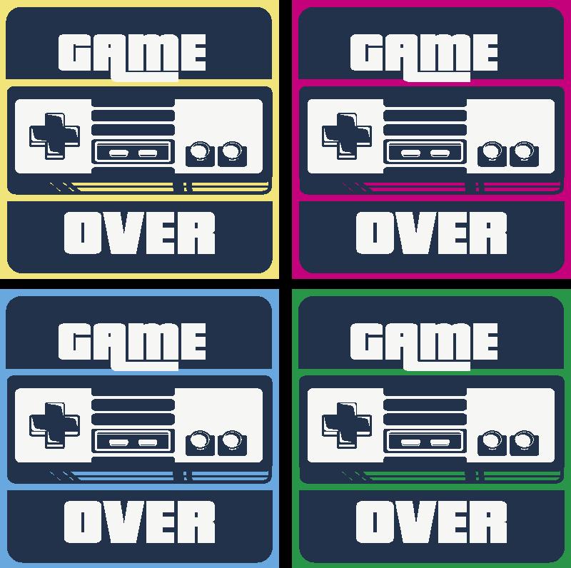 """TenStickers. Sous-verre jeu Game over. Un dessous de verre original pour les gamers. Ce dessous de verre geek est conçu avec des caractéristiques de jeu et le texte """"game over''. Disponible en packs."""